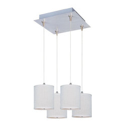 """ET2 - ET2 E95495 Elements 4 Light 7 Inch Drum Shade Square Foyer Pendant - Bulbs Inclu - ET2 E95495 Four Light 7 Inch Drum Shade Square Foyer Pendant from the Elements Collection - Bulbs IncludedA twist on a classic design, the Elements four light foyer pendant features small 7"""" tall drum shaped perforated fabric shades that will enhance the appeal of any room.ET2 E95495 Specifications:"""