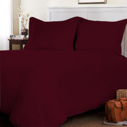 Egyptian Cotton Flat Sheet Wth Duvet Cover 500 TC Solid (Queen, Wine) By Fantasy - This is 1 Flat sheet (90 x 102 inches) and 1 Duvet Cover (88x88 inches) only.