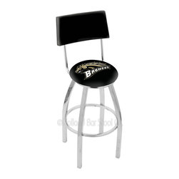 Holland Bar Stool - Holland Bar Stool L8C4 - Chrome Western Michigan Swivel Bar Stool - L8C4 - Chrome Western Michigan Swivel Bar Stool w/ Back belongs to College Collection by Holland Bar Stool Made for the ultimate sports fan, impress your buddies with this knockout from Holland Bar Stool. This contemporary L8C4 logo stool has a chrome single-ring base and a cushioned back to achieve maximum comfort and support. Holland Bar Stool uses a detailed screen print process that applies specially formulated epoxy-vinyl ink in numerous stages to produce a sharp, crisp, clear image of your team's emblem. You can't find a higher quality logo stool on the market. The plating grade steel used to build the frame is commercial quality, so it will withstand the abuse of the rowdiest of friends for years to come. The structure is triple chomed to ensure a rich, sleek, long lasting finish. Construction of this framework is built tough, utilizing solid mig welds. If you're going to finish your bar or game room, do it right- with a Holland Bar Stool. Barstool (1)