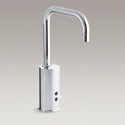 KOHLER - KOHLER Gooseneck single-hole Touchless(TM) hybrid energy cell-powered commercial - The KOHLER hybrid energy system is a first-of-its kind 30-year power solution for touchless faucets. When combined with Insight Technology, this system provides an environmentally-friendly, virtually maintenance-free electronic faucet.