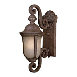 "Minka Lavery - Traditional Ardmore 19 3/4"" High Vintage Rust Outdoor Light - This outdoor wall light by Minka features a vintage rust finish and double French scavo glass. Includes a flicker-free electronic ballast. Double scroll arm design. Includes one 13 watt warm glow spiral fluorescent bulb. 19 3/4"" high. 7 1/2"" wide. Extends 12 1/8"" from the wall.  Vintage rust finish.  Includes one 13 watt spiral 4-pin fluorescent bulb.  7 1/2"" wide.  19 3/4"" high.  Extends 12 1/8"" from wall.  California Title 24 Compliant.  Energy efficient."