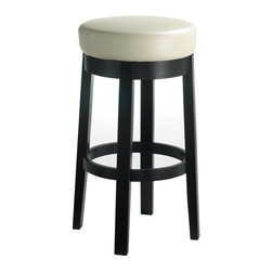 Sunpan Imports - Cedric Backless Swivel Barstool - Simple and streamlined with a sleek style that will easily enhance virtually any decor, this backless swivel bar stool will be a versatile addition to your home's decor. Topped by a generously padded cushion in cream finish, the stool has a swivel seat and a wood base in black finish. Parlor style backless barstool with a swivel seat. Embossed bonded leather with a black frame and legs. No assembly required. 15.5 in. L x 15.5 in. W x 30 in. H