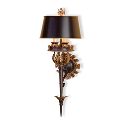 Currey and Company - The Duke Wall Sconce - Masculine finish accented with gold leaf complements the scale and design of this piece. The Zanzibar black parchment shade is included. It is part of the Winterthur Archive Collection. Wall sconces are sold as pin-ups which allows them to be either hardwired or plugged in.