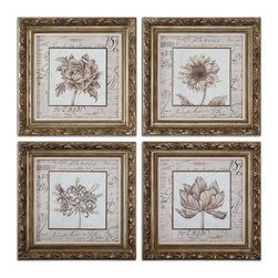 Uttermost - Uttermost 41600  French Florals Framed Art Set/4 - Frame features an antiqued gold leaf finish with bronze undertones and a gray wash. prints are under glass.