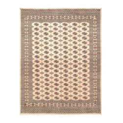 """Torabi Rugs - Hand-knotted Finest Peshawar Bokhara Pink Wool Rug 8'1"""" x 10'8"""" - The creme de la creme, high quality, high knot count (180-200 KPSI) Bokhara rugs woven in the Peshawar region by skilled artisan weavers. These stunning Bokhara rugs have small, repeating geometric designs using the elephant foot and octagonal gul motifs. These rugs usually come in greens, reds, whites, and browns. These intricate tribal rugs work well in many decor styles."""