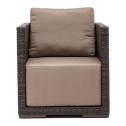Grandin Road - Park Island Outdoor Armchair - All-weather polypropylene weave over weather-resistant aluminum frames. Select an Armchair, Corner Chair, Middle Chair, or Ottoman; each piece is sold separately. Included natural-hued cushions are wrapped in water- and UV-resistant fabric. All pieces arrive assembled. Clean surfaces with a dry cloth; cushions with a damp cloth and mild fabric cleaner. Create your own collection with the versatile, overstuffed style of our Park Island Outdoor seating Collection. Modular pieces rearrange effortlessly, so you can transform your setting from an afternoon lounge to an evening celebration in moments. Natural-hued cushions complement the mocha-hued, all-weather woven forms.. . . . . Imported.