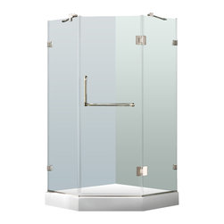 """VIGO Industries - VIGO 40 x 40 Frameless Neo-Angle 3/8"""" Shower, With White Base - Both dramatic and space-saving, the VIGO frameless neo-angle shower enclosure creates a beautiful focal point for your bathroom."""