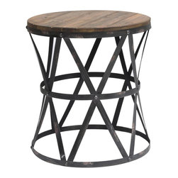 Heraldine Side Table - Heraldine Side Table; Metal & Wood Galvanized Metal Finish