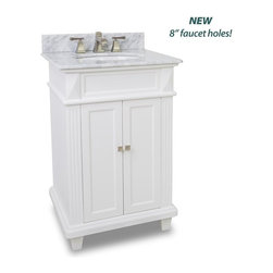 """Hardware Resources - Elements Douglas Vanity with Preassembled White Marble Top & Bowl, Painted White - This 24"""" wide MDF vanity features a sleek white finish clean lines and tapered feet to give a modern feel. A perfect alternative to a pedestal sinks. A large cabinet provides storage. This vanity has a 2CM white marble top preassembled with an H8809WH (15"""" x 12"""") bowl cut for 8"""" faucet spread and corresponding 2CM x 4"""" tall backsplash."""