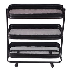 Three Tier Display Cart - This convenient cart rolls with the punches. Whether you need it in the bathroom to store towels and other accessories or in your living room to hold decorative items, it's ready to be placed wherever you see fit.
