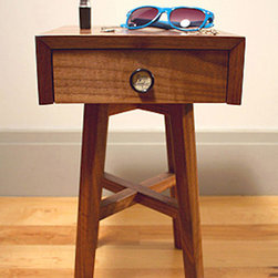 Small Walnut Side Table - It's the small details that really make this side table shine. Whether the vintage pump organ drawer pull, or the fabric lined drawers, there isn't an inch of this side table that hasn't been carefully thought out.