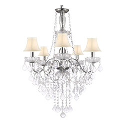 Elegant 5 Light Crystal Chandelier Pendant Lighting FIXTURE Light Lamp with Whit - This beautiful Chandelier is trimmed with Empress Crystal(TM). Item must be hardwired. Professional installation is recommended. Requires (5) 40 watt bulbs - not included