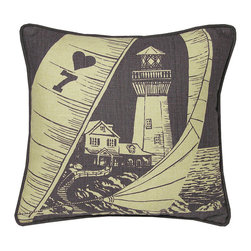 Kevin O'Brien Studio - Nautical Lighthouse Pillow, Aquarium - Our brightly colored nautical prints are screen printed onto 100% linen; piped edging; zip closure; feather/down insert included; designed in Philadelphia and made in Nepal