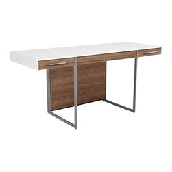 BDI - Format Desk, Walnut and Satin White - The Format Desk by BDI is simple yet commanding. Two side drawers are placed on the exterior of the desk for easy access to necessities. Below the desk top is plenty of room to store file cabinets and other office accessories. Two color options available.