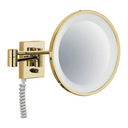 WS Bath Collections - Smile 704 Illuminated Magnifying Mirror - Smile 704 Gold Illuminated Magnifying Makeup Mirror, 3x Magnification, with Daylight White Light