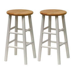 Winsome Wood - Winsome Wood Set of 2 - Beveled Seat - 24 Inch Stool in Natural & White - Solid wood construction bar stool. All assembled. White frame with Natural seat. Bevel seat provides comfort seating Barstool (2)