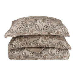 Flannel Duvet Cover Set - Twin - Paisley Grey - Our Flannel Duvet Covers are made from premium quality cotton. The flannel is also thoroughly brushed in order to ensure optimal softness and comfort. Set includes One Duvet Cover 68x86 and One Pillow-sham 20x26.