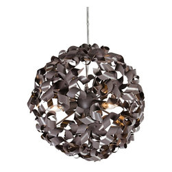 "Varaluz - Contemporary Varaluz Pinwheel 16"" Recycled Aluminum Bronze Pendant - Constructed of recycled aluminum crafted into childhood pinwheels this awesome bronze pendant light will dazzle any room in your home. The pinwheels attach to a simple center sphere and create an elegant and aerodynamic look bathed in the soft light of candelabra bulbs. Periodic compressed-air dusting is recommended for top performance and style. Change the bulb as your moods change - try amber or other color bulbs for holidays and special occasions. From Varaluz. Recycled aluminum. Painted low-VOC bronze finish. Takes three 40 watt candelabra bulbs (not included). 16"" high. 16"" wide. Canopy is 5 3/4"" wide. Includes 10' of hanging cord. Hang weight is 4 1/2 lbs. Assembly required.  Recycled aluminum.   Painted low-VOC bronze finish.   Takes three 40 watt candelabra bulbs (not included).   16"" high.   16"" wide.   Canopy is 5 3/4"" wide.   Includes 10' of hanging cord.   Hang weight is 4 1/2 lbs.    Assembly required."