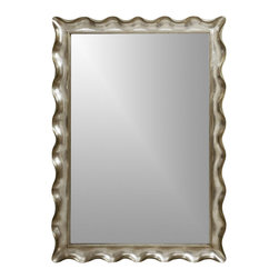 Bassett Mirror - Decorative Floor Mirror in Silver Leaf Tone S - A pretty scalloped edge gives this decorative floor mirror a glamorous look that will be a beautiful addition to your home's decor. The piece features a silver leaf colored frame and merges both retro and modern design elements for a stylish, enduring look. Rectangular shape. Decorative mirror. 59 in. L x 83 in. H (92 lbs.)