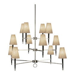 Jonathan Adler - Jonathan Adler Ventana 3 Tier Nickel Chandelier - Built like a tiered wedding cake, this 12-light tri-level extravaganza of a chandelier will certainly brighten up your dining room. The natural linen fabric shades top off the wonderfully fun and classic pendant lighting piece.