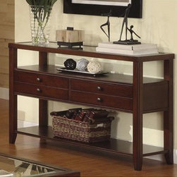 Riverside Furniture - Avenue Console Table - Features: -Wood-framed top with beveled-edge glass insert.-Two drawers constructed with dovetail joinery and mounted on wood-on-wood guides.-Open center storage area with fixed shelf and one bottom fixed shelf.-Constructed of poplar hardwood solids and cherry veneers.-Dark cherry finish.-Avenue collection.-Collection: Avenue.-Distressed: No.Dimensions: -Overall Product Weight: 82 lbs.