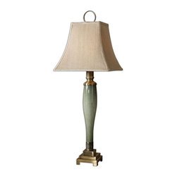 Uttermost - Jaida Blue Green Buffet Lamp - Blue Green Glass With Bronze Highlights And Coffee Bronze Metal Details. The Square Bell Shade Is A Khaki Linen Fabric With Natural Slubbing.
