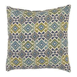 Pillow Perfect - Mardin 18-Inch Throw Pillow in Spa - - 100% Cotton  - 100% Virgin Recycled Polyester Fill  - Sewn Seam Closure  - Spot Clean Only  - Made In USA Pillow Perfect - 473956