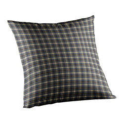 Patch Quilts - Blue Black Plaid Fabric Toss Pillow 16 x 16 Inch - Home spun  yarn dyed fabric throw pillow  - complements with Patch Magic brand quilted line  - Machine washable  Line or Flat dry only Patch Quilts - TPW005R