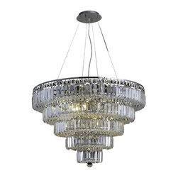 "PWG Lighting / Lighting By Pecaso - Chantal 17-Light 30"" Crystal Chandelier 1731D30C-SS - The unique design of the Chantal Collection inspires any room setting. Dazzling spectacles of light sparkles throughout the fixture creating a modern, yet timeless beauty and elegance."