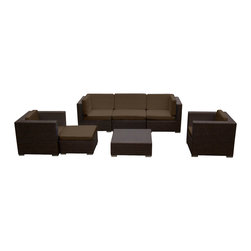MangoHome - Outdoor Patio Furniture Wicker Sofa Sectional 7pc Resin Couch Set - Outdoor Patio Furniture Wicker Sofa Sectional 7pc Resin Couch Set
