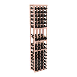 4 Column Display Row Wine Cellar Kit in Redwood with White Wash Stain - Make your best vintage the focal point of your wine cellar. Four of your best bottles are presented at 30° angles on a high-reveal display. Our wine cellar kits are constructed to industry-leading standards. You'll be satisfied with the quality. We guarantee it.