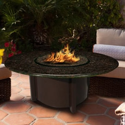 California Outdoor Concepts Carmel Chat Height Fire Pit Table - Named for the cultural Mecca the California Outdoor Concepts Carmel Chat Height Fire Pit Table is a sophisticated furnishing that showcases tailored legs and a low-level flame sure to attract the most interesting people to your next outdoor gathering. The torso of this charming piece is crafted entirely from durable aluminum that houses a 40 000 BTU stainless steel burner and 20 lb. liquid propane tank (sold separately). Atop the bold base is an expansive round table top of polished granite that is as luxurious as it is long-lasting. For a finishing touch customize your table with either realistic gas logs and lava rocks that cover the burner or your choice of colorful fire glass.For a finishing touch customize your table with either realistic gas logs and lava rocks that cover the burner or your choice of colorful fire glass. Runs on propane and/or natural gas conversion kit for natural gas is included. About California Outdoor ConceptsCalifornia Outdoor Concepts builds their fire pits and accessories exactly where it would seem - in the sunny climate of idyllic California. By living the lifestyle they sell this small company is able to develop some of the most sophisticated beautiful and practical designs for outdoor socializing. There are no assembly lines at the COC production facility - each piece is handmade and checked for perfection. When you're ready to heat things up in your backyard trust in the true California way.