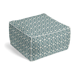 Aqua Modern Trellis Square Pouf - The Square Pouf is the hottest thing in decor since the sectional sofa. This bean bag meets Moroccan style ottoman does triple duty as a comfy extra seat, fashion-forward footstool, or part-time occasional table.  We love it in this rounded trellis in dark aqua & white on soft lightweight line. your gateway to a chic modern look.
