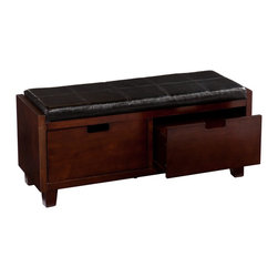 "Southern Enterprises Inc - Southern Enterprises Inc Capistrano 2-Drawer Bench X-7529CB - Add this gorgeous bench to your home for a simple solution to your storage and seating needs. This bench is the ultimate addition to complete your entryway with style.  This bench features a rich espresso finish with a handsome, removable black seat cushion. Two large drawers below the seat offer ample storage for purses, hats, scarves, and other accessories.  The contemporary design and finish of this bench work well in any style of decor. Add one to your entryway for the perfect spot to drop everything while you kick off your shoes! This bench also looks great at the foot of the bed and offers useful storage for the bedroom.  - FEATURES:                                                                                             - Features 2 drawers beneath the seat                                                                   - Removable seat cushion: underside of cushion is unfinished (lined in fabric)                          - Includes a fifth leg in the center for optimized support                                              - Espresso finish with black cushion                                                                    - PRODUCT SPECIFICATIONS:                                                                               - Cushion: 37.5"" W x 14"" D x 2.25"" THK                                                                  - Drawers: 16"" W x 11"" D x 8"" H                                                                         - Drawer handles: 3.75"" W x .5"" D x 1"" H (cut out)                                                      - Clearance: 3"" H (support leg at center)                                                               - Approx. weight: 61 lb.                                                                                - Supports up to: 250 lb. (seat), 15 lb. (per drawer)                                                   - Materials: pine, MDF, particle board, CA foam, synthetic leather                                      - Assembly required                                                                                     - Overall: 40.25"" W x 14"" D x 18"" H"