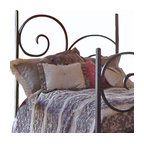 Mathews & Company - Alexander Wrought Iron Headboard - Spice up your bedroom or guestroom with this beautiful Alexander Wrought Iron Bed! The simple yet artistic curves of the hand wrought iron frame can be finished to your preference. Add on a canopy for some formality and elegance. If the canopy and footboard is not really your style, you can purchase just the headboard. Because the manufacturers and aiming to please you, this bed comes in both the queen and king size. Add this gorgeous handmade piece of furniture to your master suite. Pictured in Black finish.