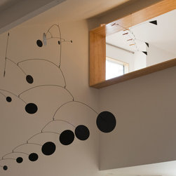 Custom Modern Furniture - Extra large Kinetic Mobile Art designed by Audrey McEwen inspired by Alexander Calder. Constructed by Audrey McEwen and Neal McEwen.
