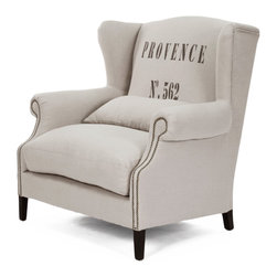 Kathy Kuo Home - Napoleon Linen Brass Nail head Half Wingback Chair - The relaxed style of Provence is reinterpreted in this half wingback chair.  With a lumbar support and generous proportions, the Napoleon invites all to unwind without sacrificing style.