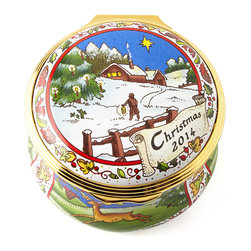 """Halcyon Days Enamels - 2014 Christmas Box - MULTI COLORS - Halcyon Days Enamels2014 Christmas BoxDetailsKeepsake box; interior message: Health Peace and sweet contentment be yours 2014.Enamel on copper.Hand painted.Arrives in a dark-blue silk-lined gift box.2""""Dia. x 1""""T.Made in England.Designer About Halcyon Days Enamels:The Halcyon Days shop opened in London's Mayfair in 1950 and its Halcyon Days Enamels debuted 20 years later singlehandedly reviving the nearly lost English art of enameling on copper. Halcyon Days Enamels keepsake boxes featuring hand enameling and hand painting are prized by collectors worldwide as modern heirlooms."""