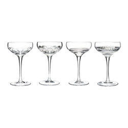 Waterford - Waterford Mixology Clear Coupes (Set of 4) - This set's individual coupes each feature unique crystal cuts of talon,neon,circon and argon for an organized set that's flourished with individuality. The coupes are composed of elegant Waterford clear crystal.