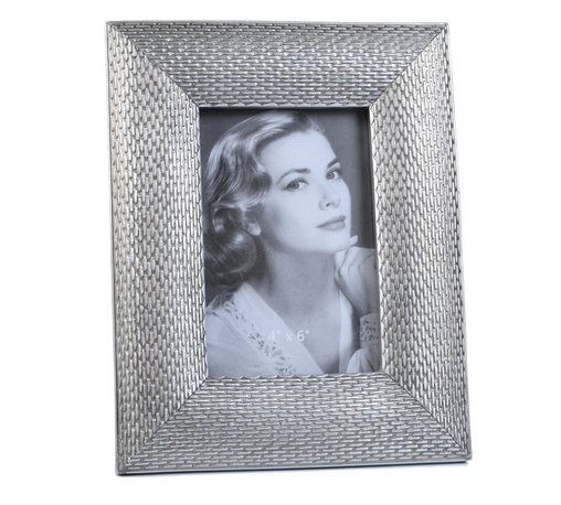 """Concepts Life - Concepts Life Photo Frame  Loving Link  4x6"""" - Inspired by fine jewelry, these silver Loving Link frames will add sparkle and a hint of romance to your photograph collection. Ideal for your home as well as for your loved ones!  Modern home accent Contemporary silver picture frame Beautiful and elegant home accent Rectangular photo frame Made of polyresin Textured finish Easel back for horizontal or vertical display Various sizes available Holds 4 x 6 in. size photo Dimensions: 7""""w x 9""""h x 1""""d Weight: 1.5 lbs"""