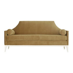 Sylvia Sofa - The tailored look of this chic sofa is a modern homage to timeless designs of the past. Designer Reagan Hayes has scaled this sofa for a more intimate setting, so it has a very petite frame. The high back silhouette is finished with a pair of bolster pillows for ultimate comfort.