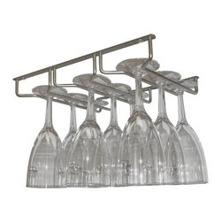 Vinotemp - Sectional Wine Glass Hanger - Glasses not included. Holds nine stemware glasses. Easy under-cabinet installation. Lead time: 3 to 5 days. Chrome color. 13 in. W x 10.13 in. D x 1.5 in. H (1 lbs.). WarrantyThe sectional wine glass hanger easily attaches to the bottom of a cabinet to display and store glassware. Organized and readily accessible. As part of the stylish selection offered by epicureanist, this product makes a great gift for any wine lover.