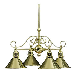 None - Polished Brass 4-light Chandelier - Brighten up your home with this indoor four-light chandelier. This chandelier features metal shades and polished brass finishing. Designed in a transitional style,this steel chandelier will complement virtually any room within your home.