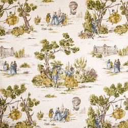 Yellow gold blue toile fabric French country vintage look - A blue and gold French country toile with a vintage look.