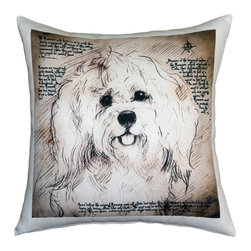 Pillow Decor - Leonardo's Dogs Havanese Dog Pillow - Created in the style of a Leonardo da Vinci sketch, this Havanese image is applied to a wonderfully soft and natural feeling indoor/outdoor poly-linen fabric. The Havanese Dog Pillow makes a great gift for anyone who owns and loves this breed. Or incorporate this pillow into your own home to celebrate the unconditional affection that your dog shares with you. A Leonardo's Dogs original.