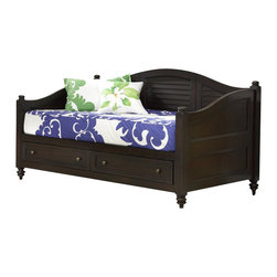 Home Styles - Home Styles Bermuda Wood Daybed with Storage in Espresso Finish - Home Styles - Daybeds - 554285 - Inspired by the fusion of British traditional and old world tropical design the Bermuda Collection highlights Mahogany Solids with Mahogany & Albazia Veneers in a deep Espresso finish.  Further inspiration can be found in the shutter style design and turned feet.  Daybed features include two large storage drawers with full extension guides recessed drawer fronts and antique brass hardware. Size: 82w 43d 44h.