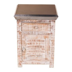 "YOSEMITE HOME DECOR - Accent Table - Take me to the beach, the cottage or just anywhere that you can just relax. An aged ""iron"" metal wraps around the top of distinctive accent chest. The weathered and washed finish along with the shutter faced door and distressed painted hardware   complete the look. A top drawer adds even more storage space. Assembled and Made in India.  Overall Item Dimension 18""Wx16""Dx24""H"
