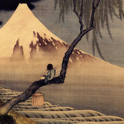 Keep Calm Collection - Boy In Front Of Fujiama by Katsushika Hokusai, art print - Katsushika Hokusai (September 23, 1760 - May 10, 1849) was a Japanese artist, ukiyo-e painter and printmaker of the Edo period. He was influenced by such painters as Sesshu, and other styles of Chinese painting.