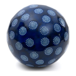 "Oriental Furniture - 6"" Decorative Porcelain Ball - Blue with White Stars - This gorgeous porcelain ball features a rich cobalt glaze and a pale blue pattern reminiscent of twinkling starlight and falling snowflakes. This intriguing ceramic would make a lovely seasonal accent if displayed on a shelf, or as part of a creative centerpiece."