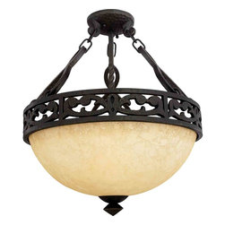 Quoizel Lighting - Quoizel LP1717IB La Parra Imperial Bronze Semi-Flush Mount - 3, 100W A19 Medium
